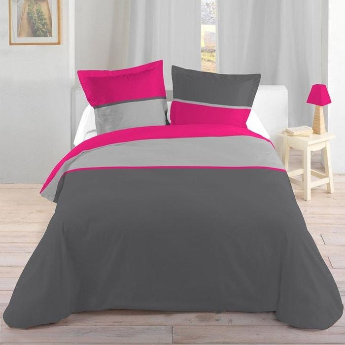 parure de lit gris et fuchsia 260 x 240 cm storex la redoute. Black Bedroom Furniture Sets. Home Design Ideas