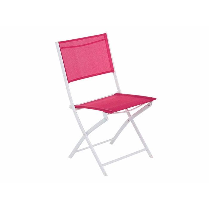 Chaise de jardin pliante m tal modula framboise blanc couleur unique hesperid - La redoute chaise de jardin ...