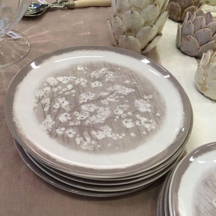 2 assiettes plates en porcelaine fleurs de pommier couleur unique cote table la redoute. Black Bedroom Furniture Sets. Home Design Ideas