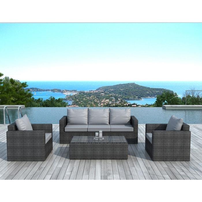 Salon de jardin 5 places en résine tressée gris foncé coussins tissu gris  canapé 3 places + 2 fauteuils + table basse NAPOLI