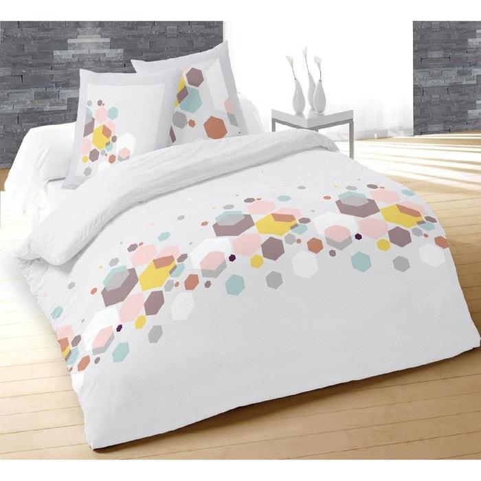 parure housse de couette 240 x 220 cm facette blanc couleur unique douceur d 39 int rieur la redoute. Black Bedroom Furniture Sets. Home Design Ideas
