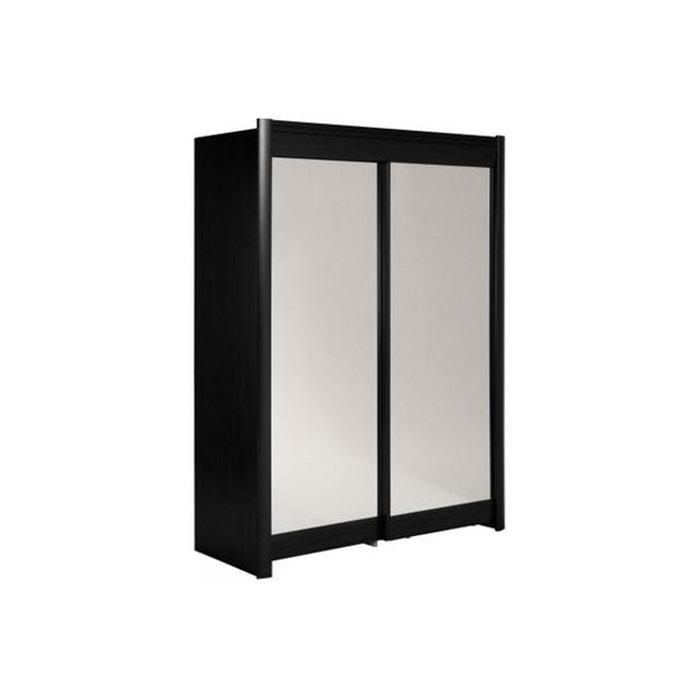 armoire avec miroir 2 portes coulissantes h160 noir tikki declikdeco image 0 - Armoire Portes Coulissantes Miroir