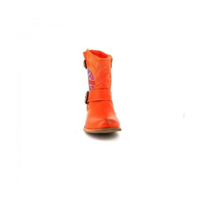 Bottine motard quorella orange Cassis Cote Dazur