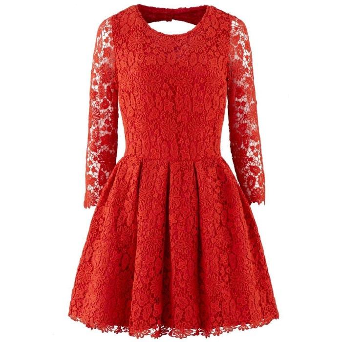 robe en dentelle rouge ba sh la redoute. Black Bedroom Furniture Sets. Home Design Ideas