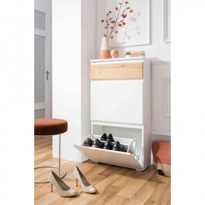 Meuble chaussures 2 tiroirs en bois mc7024 blanc terre de nuit la redoute - Meuble a chaussures la redoute ...