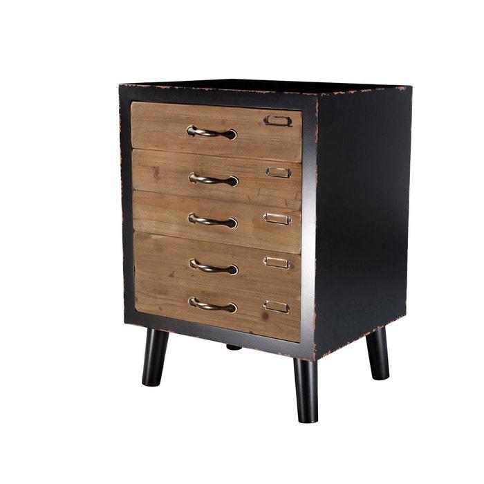 chevet lohja 3 tiroirs noir rendez vous deco la redoute. Black Bedroom Furniture Sets. Home Design Ideas