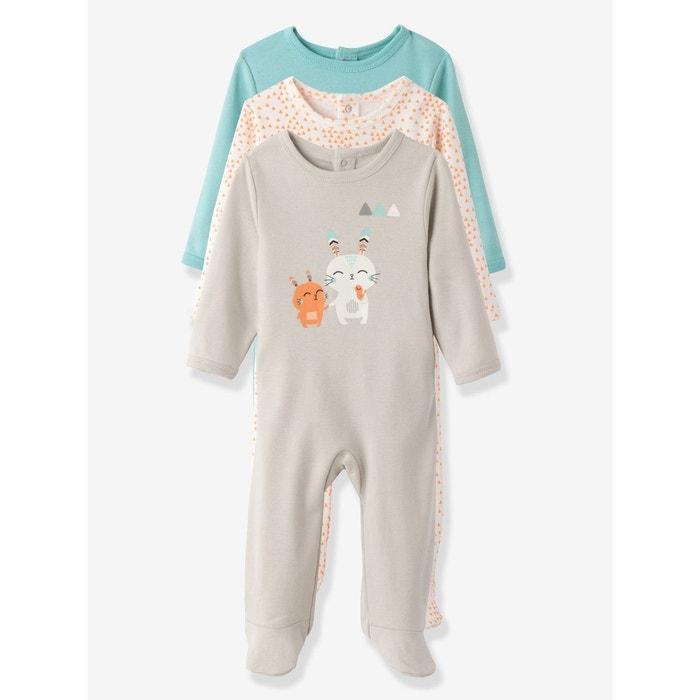 04fd2d8723ebc Lot de 3 dors-bien bébé en pur coton dos pressionné gris clair imprimé  Vertbaudet