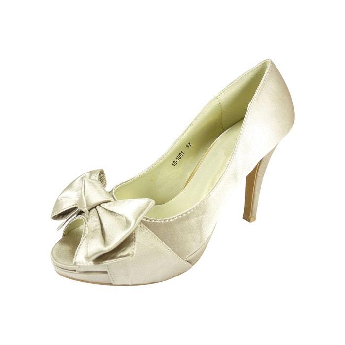 Chaussures mariage satin ouvertes beige Chaussmaro