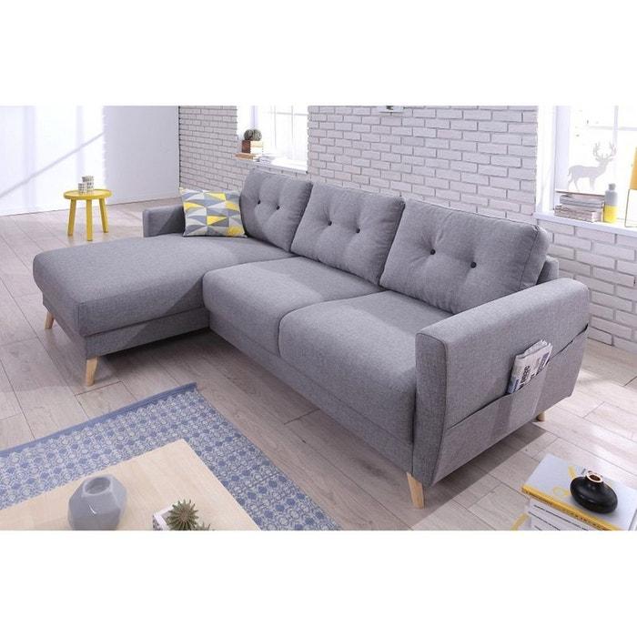canap scandi angle gauche convertible ave coffre gris clair gris bobochic la redoute. Black Bedroom Furniture Sets. Home Design Ideas