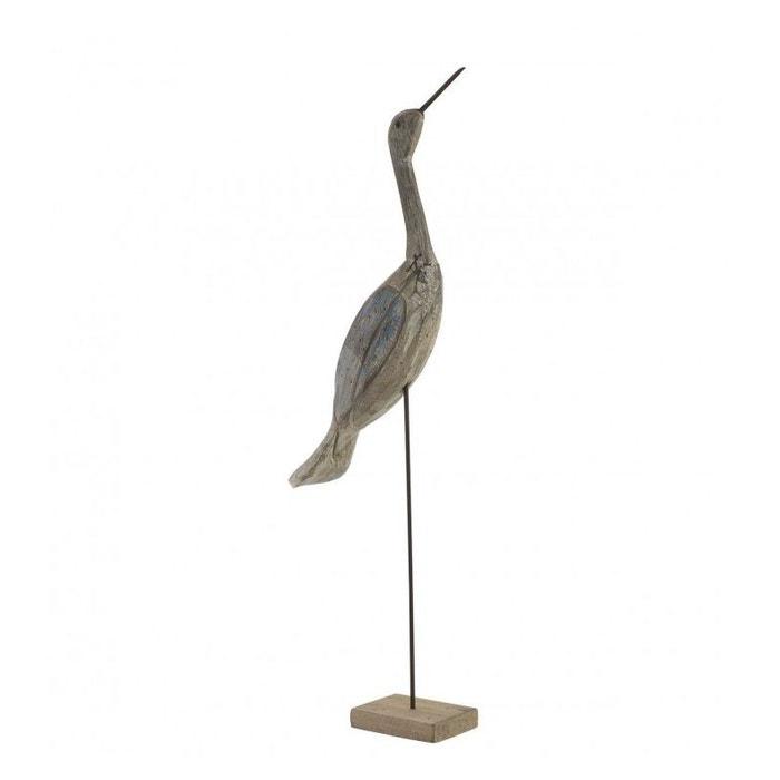 Oiseau décoratif en bois sculpté et métal héron - hauteur 75cm on