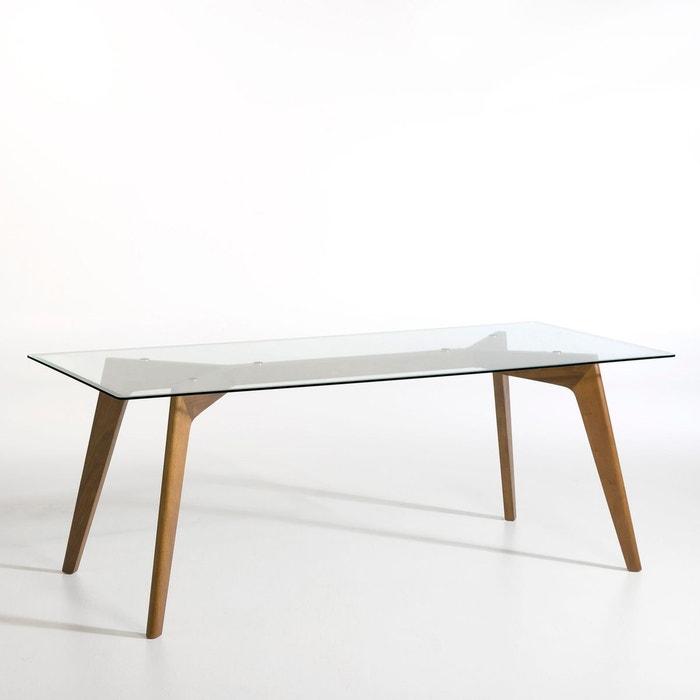 table rectangulaire verre et noyer kristal noyer am pm. Black Bedroom Furniture Sets. Home Design Ideas