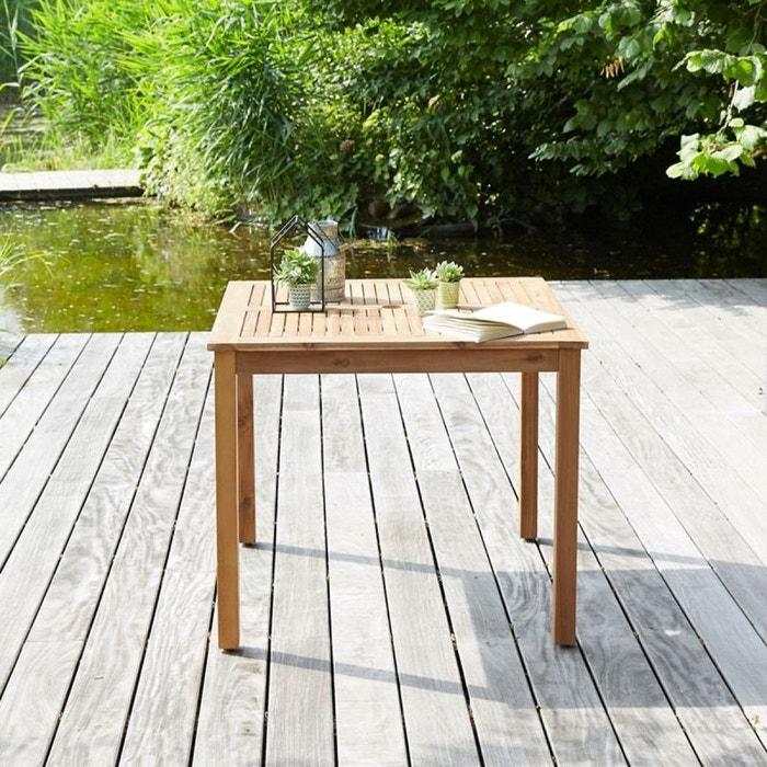 Table de jardin carrée en bois d\'acacia fsc acacia Bois Dessus Bois ...