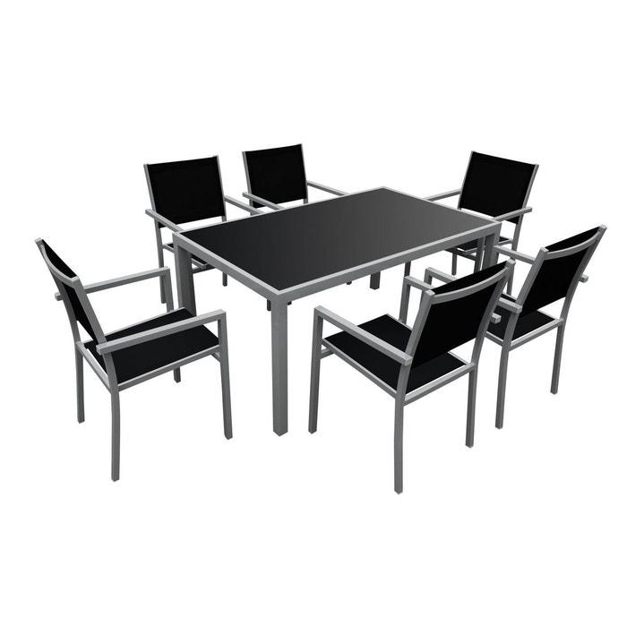 salon de jardin bergamo 6 places noir happy garden la redoute. Black Bedroom Furniture Sets. Home Design Ideas