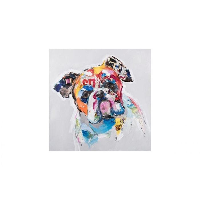 Tableau Bouledogue Patchwork de motifs colorés 60x60cm