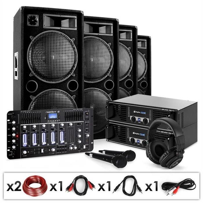 set sono dj bass first pro bluetooth 2 x amp 4 x enceinte mixeur 4000w autre electronic star. Black Bedroom Furniture Sets. Home Design Ideas