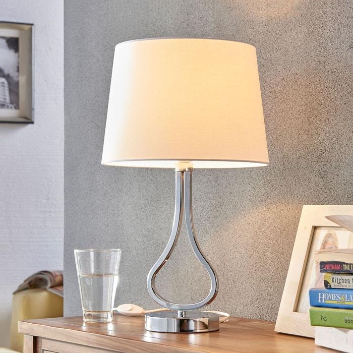 jolie lampe poser joelyna abat jour en tissu chrome blanc lampenwelt la redoute. Black Bedroom Furniture Sets. Home Design Ideas