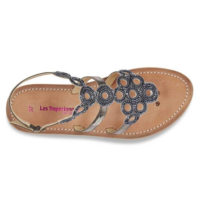 Sandales cuir ofelie gris métallisé Les Tropeziennes Par M Belarbi