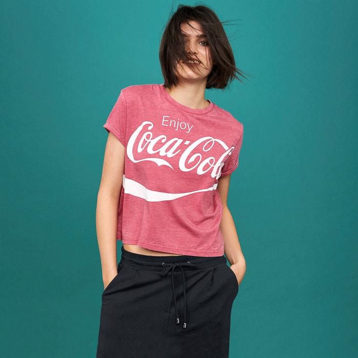 COLA redondo manga cuello COCA Camiseta corta estampada 8xzqZ7g