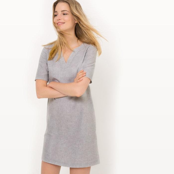 afbeelding Gestreepte jurk met korte mouwen, linnen La Redoute Collections