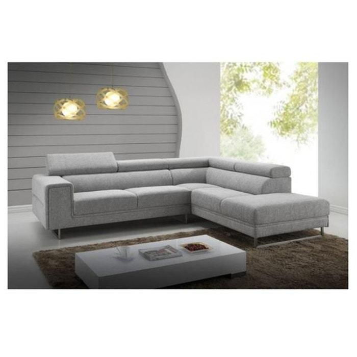 Canapé d angle droit gris clair en tissu bartolo gris Declikdeco