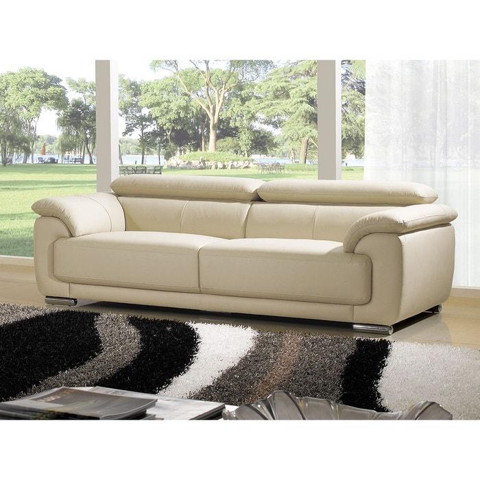canap cuir 3 places marjorie beige la maison du canape la redoute. Black Bedroom Furniture Sets. Home Design Ideas