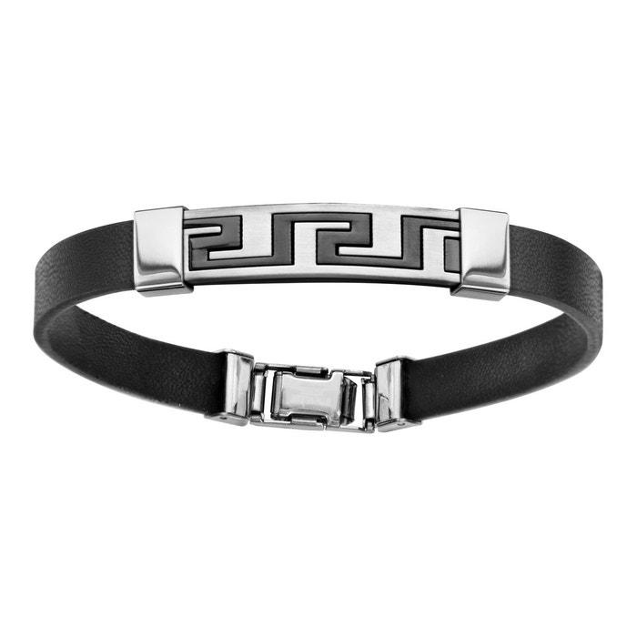 Bracelet 21,5 cm grec caoutchouc noir résine noire acier inoxydable couleur unique So Chic Bijoux | La Redoute