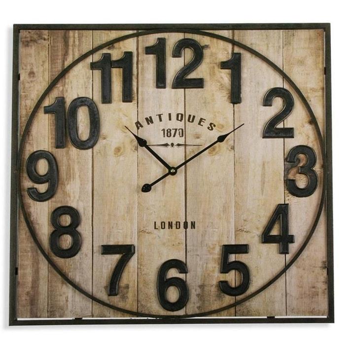 Horloge murale bois et métal antiques taupe Versa   La Redoute 43ec2480b3e1
