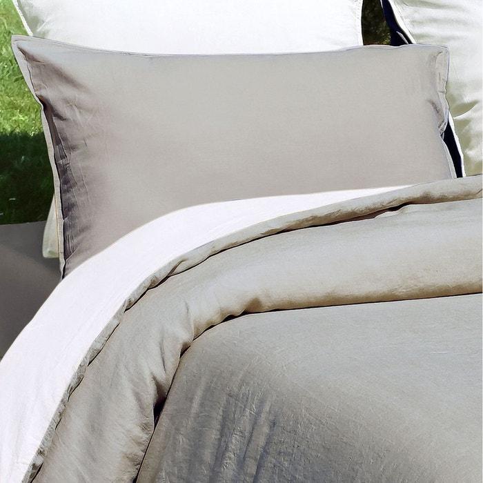 taie oreiller 100 lin lav 165 gr m 47 fils cm sonate finition sac avec rabat taupe vent. Black Bedroom Furniture Sets. Home Design Ideas