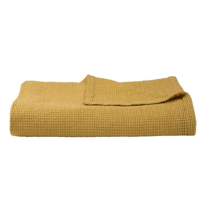 Couvre lit gaufrette jaune olivier desforges la redoute for David olivier linge de maison