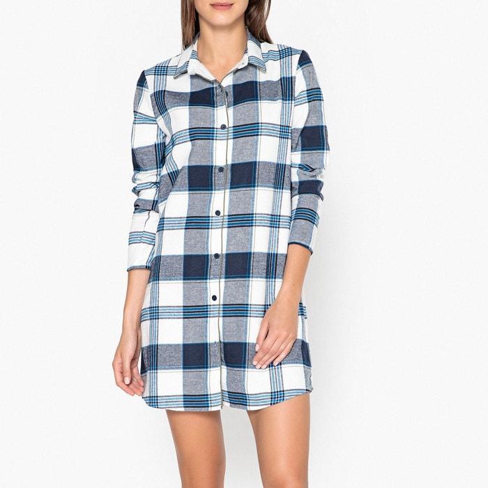 chemise de nuit en flanelle bleu kaki la redoute collections la redoute. Black Bedroom Furniture Sets. Home Design Ideas