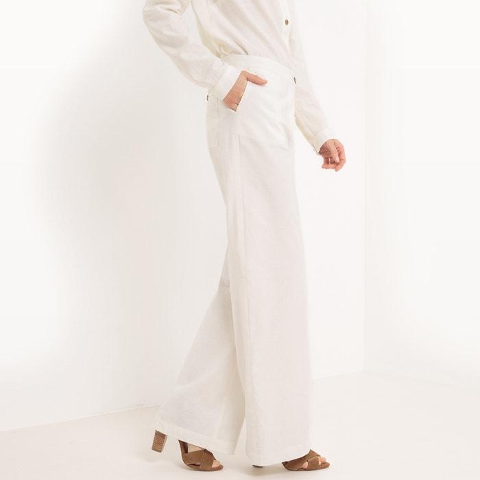 afbeelding Wijde broek met hoge taille, Linnen La Redoute Collections
