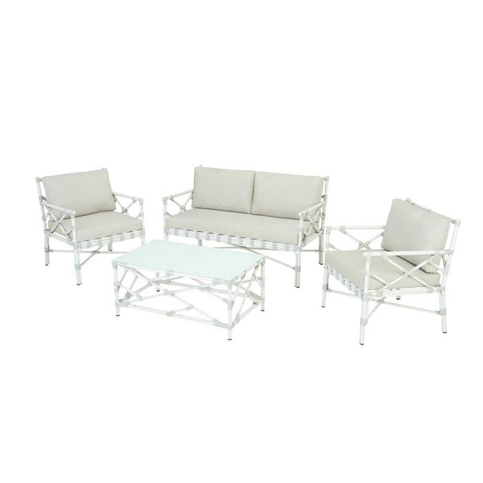 Salon de jardin eloy en alu blanc Rotin Design | La Redoute