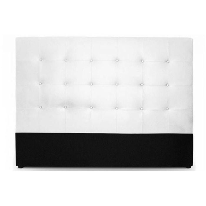 t te de lit capitonn e 160 cm coloris blanc florentin. Black Bedroom Furniture Sets. Home Design Ideas