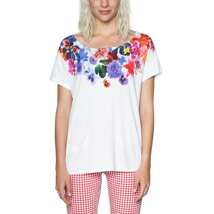 T-shirt scollo rotondo fantasia a fiori, maniche corte  DESIGUAL image 0