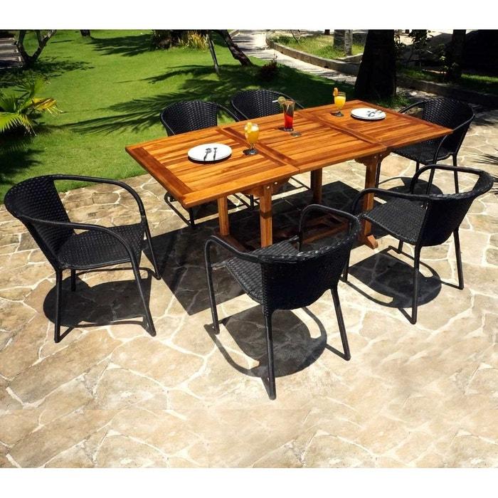 Table de jardin en teck huil 180 cm 6 fauteuils en r sine - La redoute table de jardin en resine tressee ...