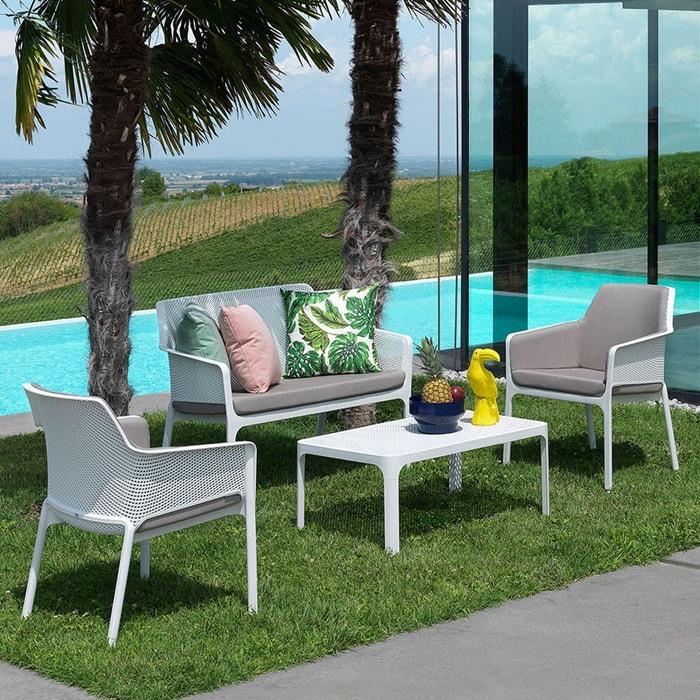 Salon de jardin polypropylène Net blanc