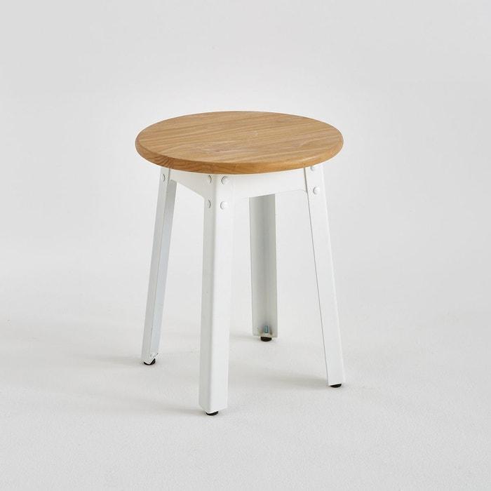 tabouret style industriel haut 42 cm hiba blanc la. Black Bedroom Furniture Sets. Home Design Ideas