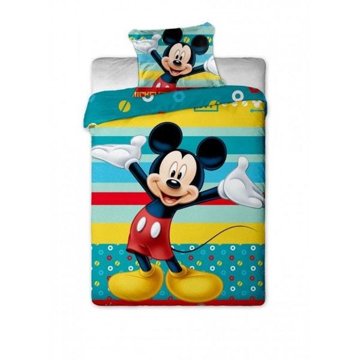 Mickey mouse disney turquoise parure de lit enfant housse de couette coton multicolore - Parure de lit enfant disney ...