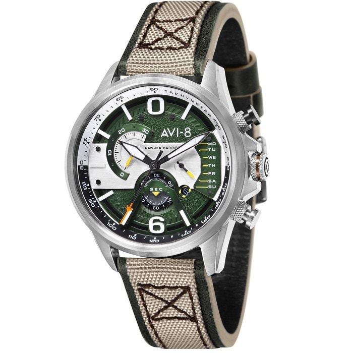 Montre chronographe bracelet cuir véritable hawker harrier ii vert Avi Sneakernews Prix Pas Cher Meilleur Endroit De Sortie nzunBHIjB