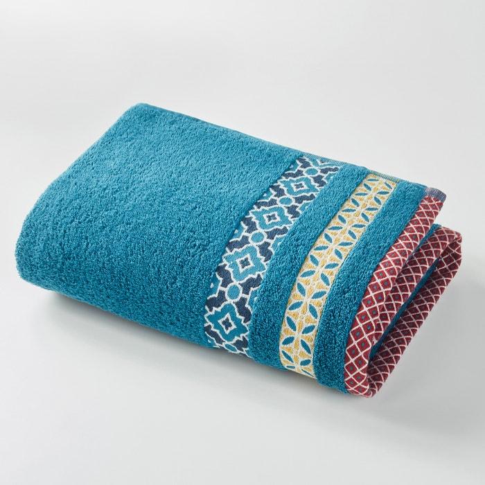 Image Evora Cotton Bath Sheet with Coloured Border. La Redoute Interieurs