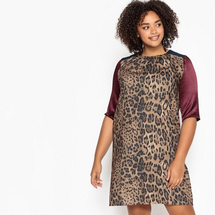 Vestido recto estampado de leopardo y color block  CASTALUNA image 0