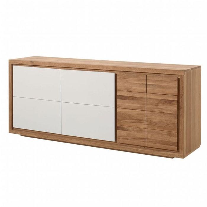 Buffet moderne bois laque blanche 3 portes malmoe chêne massif Pier ...
