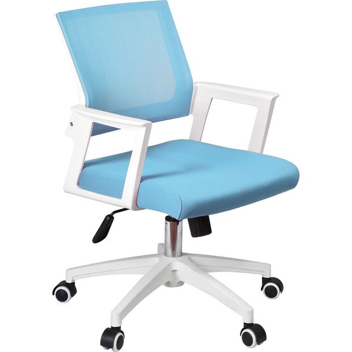Chaise De Bureau A Roulettes Bleue Clair Herdasa La Redoute