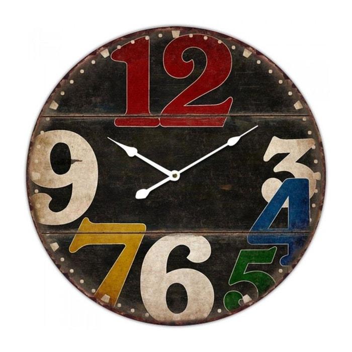 Horloge murale ronde noir en bois et chiffres multicolores multicolore wadiga la redoute for Horloge murale multicolore