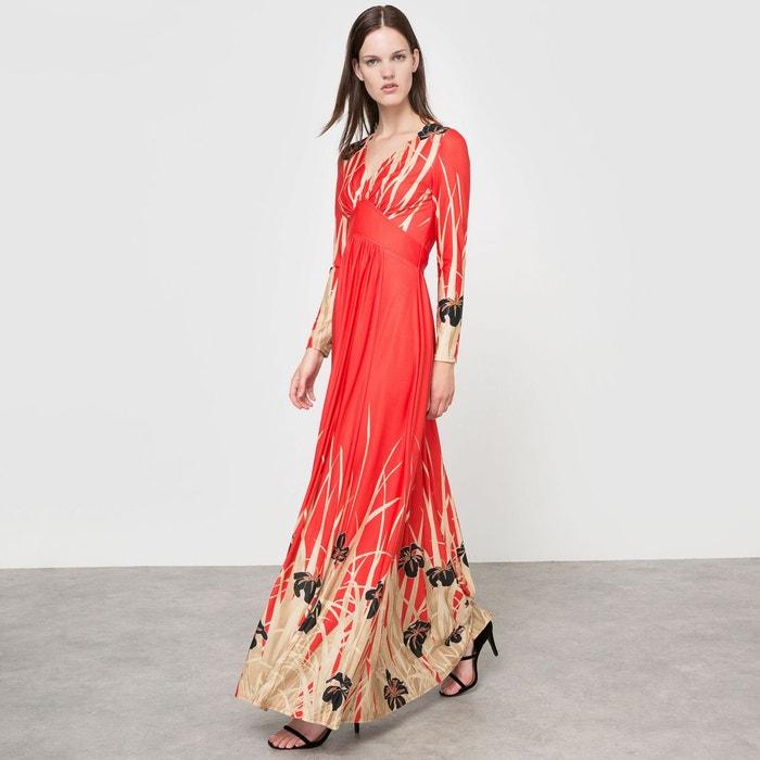 robe longue imprim e imprim fond rouge delphine manivet x la redoute madame la redoute. Black Bedroom Furniture Sets. Home Design Ideas