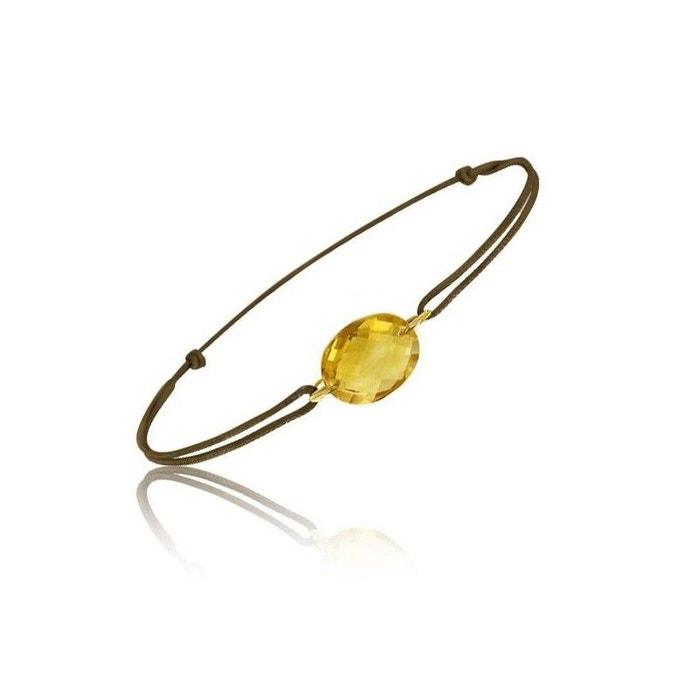 Bracelet cordon marron avec une pierre citrine ovale ! marron Be Jewels | La Redoute Pas Cher De Jeu Vente Excellente Réduction En Ligne eeB6yS9