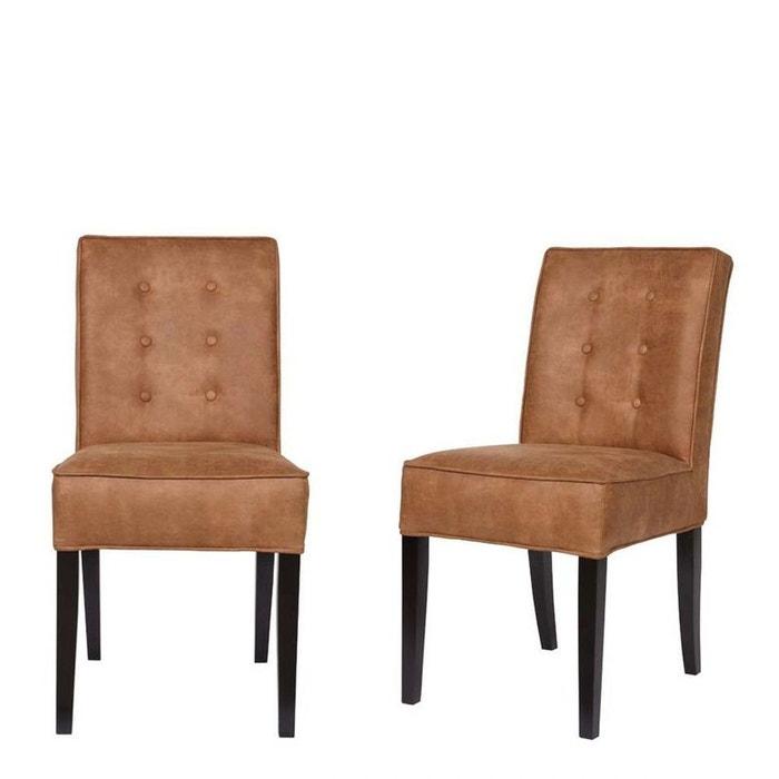 Lot de 2 chaises vintage marron fleur marron drawer la for La redoute chaise de bureau