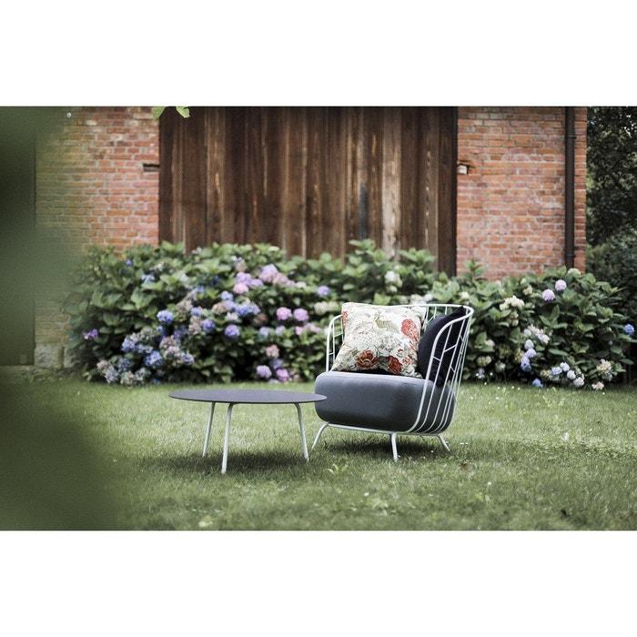 Salon de jardin MAJ fauteuil et table basse ronde en acier blanc EGOE