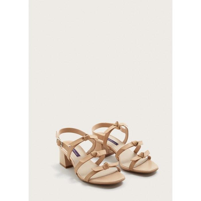 Sandales cuir n?uds beige Violeta By Mango