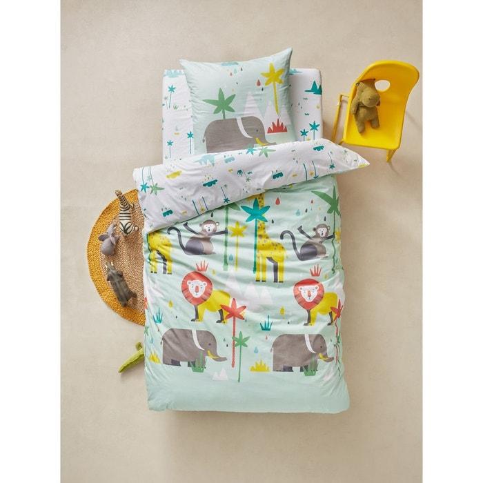 parure housse de couette taie d 39 oreiller enfant african safari vert clair vertbaudet la redoute. Black Bedroom Furniture Sets. Home Design Ideas